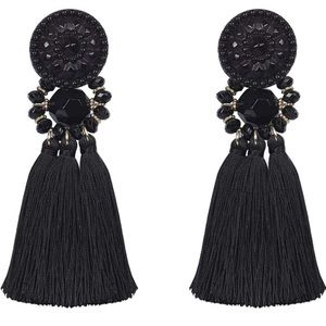 NWT H&M TASSEL AND BEADED DROP EARRINGS BLACK